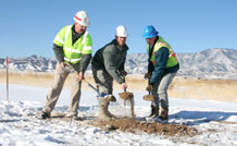 From left, Robert Giles, U.S. Army Corps of Engineers Omaha District resident engineer; Lt. Col. Andrew Centineo, Army Field Support Battalion-Fort Carson commander; and Tim Woods, owner of Liberty General Contractors, LLC; signify the start of a project to build three brigade logistics support team buildings during a groundbreaking ceremony Jan. 11 near the 4th Brigade Combat Team, 4th Infantry Division, complex off Wilderness Road.