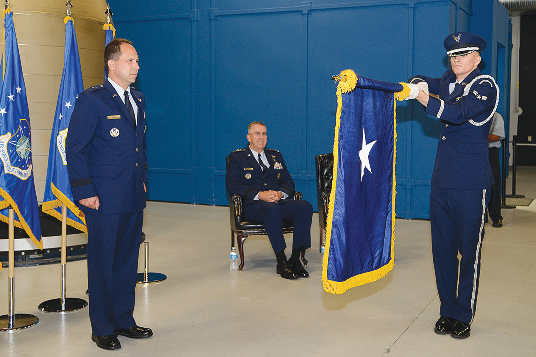 Wing commander pins on first star (U.S. Air Force photo/Rob Bussard)