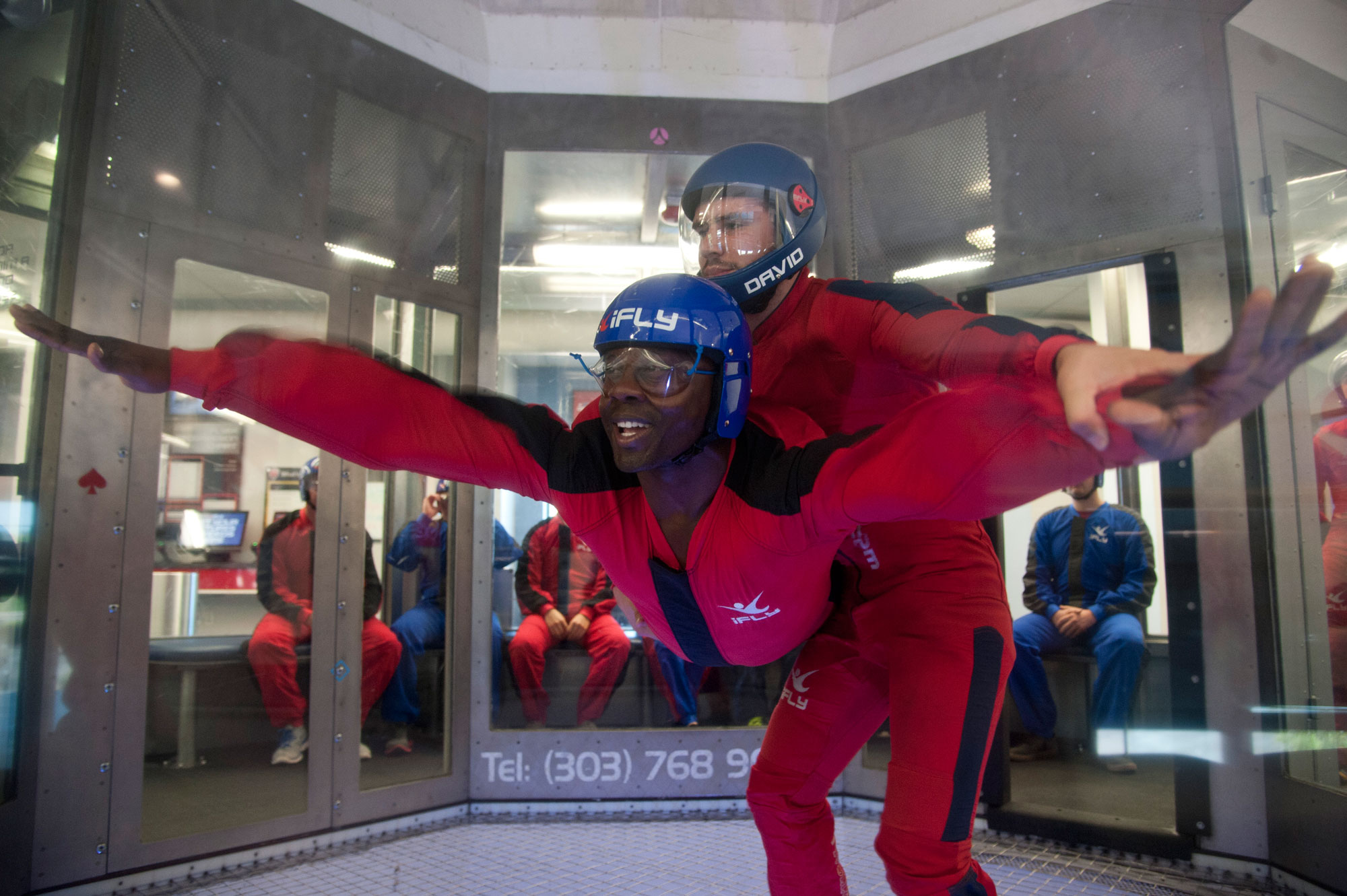 (U.S. Air Force photo by Senior Airman Tiffany DeNault) DENVER, Colo. – Senior Airman JoJuan Green, 21st Operations Support Squadron weapons and tactics, flies in the wind tunnel at IFly Indoor Skydiving during a Peterson Chapel retreat, June 19, 2015. Peterson leadership picked their top performers to participate in a day retreat to indoor skydive, eat lunch and discuss the stress of military life and resources available.