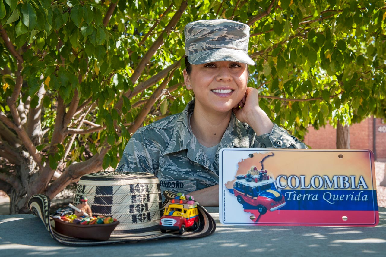 (U.S. Air Force photo by Airman 1st Class Rose Gudex) PETERSON AIR FORCE BASE, Colo. – Senior Airman Andrea Londoño, 4th Manpower Requirement Squadron command support staff, although born and raised in the Central Valley of California is a Hispanic Airman as her mother is from Mexico and her father from Columbia. Londoño is proud to continue her family heritage and military legacy in the Air Force.