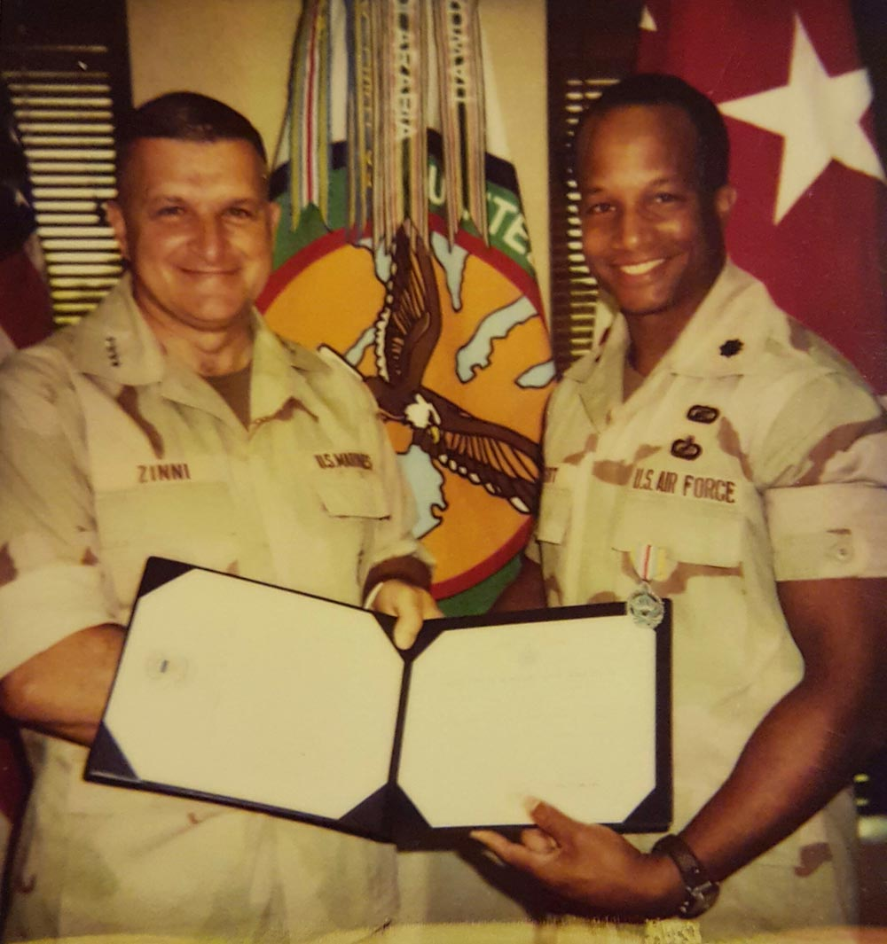 (courtesy photo) Then Lt. Col. Robert Wright, Jr., Aide de Camp, receives the Defense Superior Service Medal from his boss and mentor, Gen A. C. Zinni, U.S. Central Command commander.