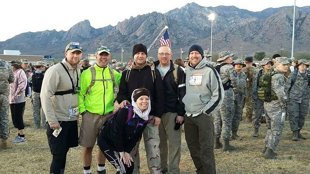 (Courtesy photo) From left, back row) 302nd Airlift Wing Reservists Tech. Sgt. Gregory Strauch, Senior Master Sgt. Augusto Goncalves, Senior Master Sgt. Tracey White, Senior Master Sgt. Daniel Douglas, Tech. Sgt. Douglas Lemp and (front) Senior Airman Charity Zalasar prepare for the Bataan Death March, March 20, 2016 at White Sands Missile Range, N.M.
