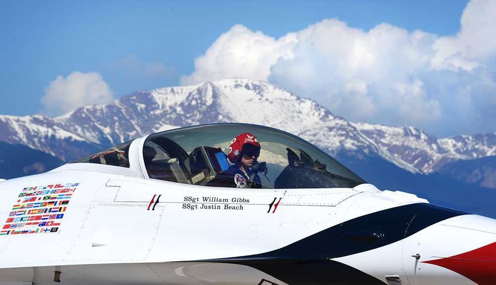 (U.S. Air Force photos by Airman 1st Class Dennis Hoffman) Capt. Nicholas Eberling, U.S. Air Force Thunderbird's lead solo pilot, lands at Peterson Air Force Base, Colo., on May 30, 2016. The U.S. Air Force Air Demonstration Squadron, the Thunderbirds, performs precision aerial maneuvers demonstrating the capabilities of Air Force high performance aircraft to people throughout the world.