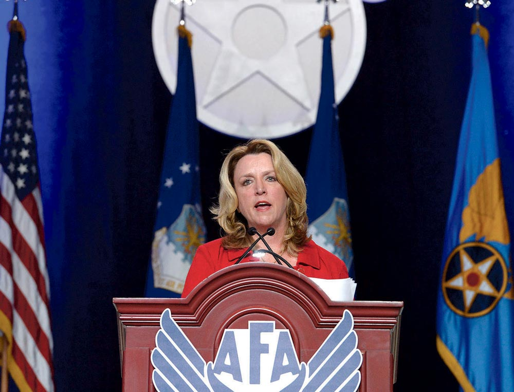 "(U.S. Air Force photo/Scott M. Ash) National Harbor, Md. — Air Force Secretary Deborah Lee James gives her ""State of the Force"" address during the Air Force Association's Air, Space and Cyber Conference in National Harbor, Md., Sept. 19, 2016. A highlight of James' presentation was announcing the official name of the Air Force's newest bomber, the B-21 Raider."