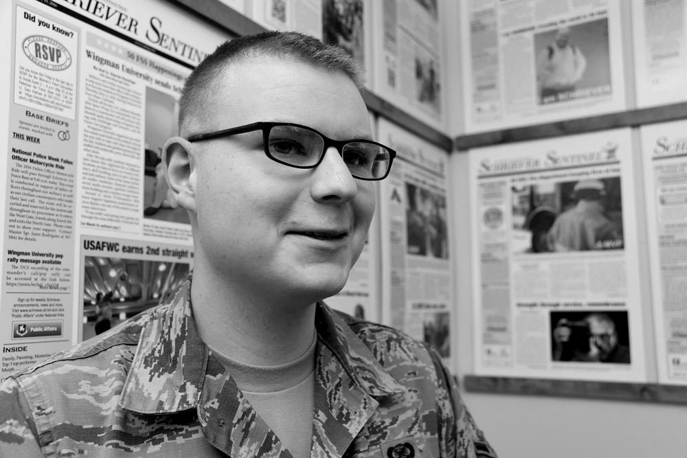 U.S. Air Force photo/1st Lt. Darren Domingo Airman WIlliam Tracy, 50th Space Wing Public Affairs specialist, grew up in rural Maine, but found his home in the Air Force. It was the best decision he ever made.