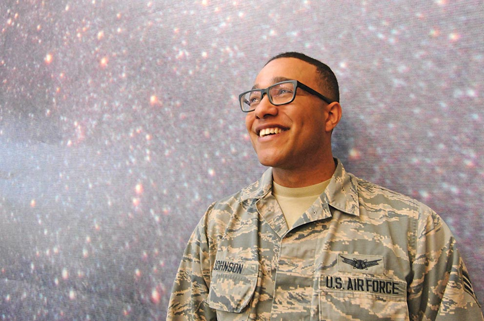 U.S. Air Force photo/2nd Lt. Scarlett Rodriguez Senior Airman Cory Johnson, 3rd Space Operations Squadron procedures technician, contemplates his future in medicine after being accepted into the dual enrollment program of University of California, Los Angeles and David Geffen School of Medicine. Johnson has been dreaming of becoming a doctor since he was a 10-year-old boy, frequenting hospitals often due to his health.