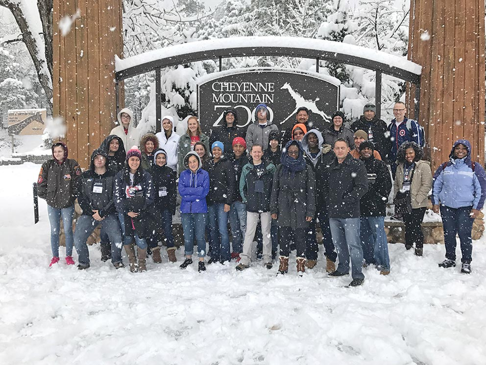 (Courtesy photo) COLORADO SPRINGS, Colo. — Mentors and mentees taking part in the Tragedy Assistance Program for Survivors Regional Survivor Seminar and Good Grief Camp visit the Cheyenne Mountain Zoo, despite the falling snow, April 1, 2017. About 300 people attended the seminar March 31-April 2 for those who have lost a military family member.