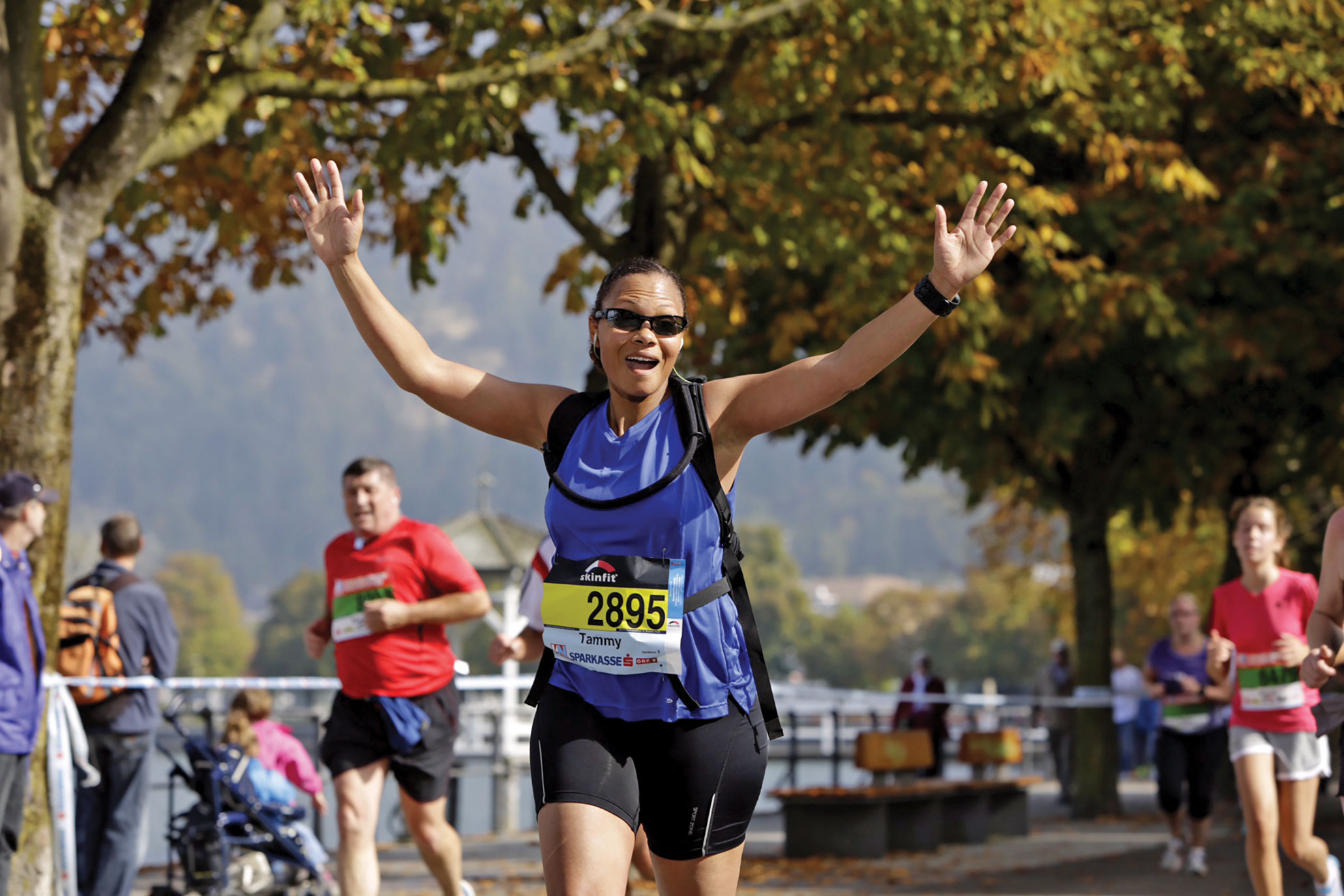 (Courtesy photo) Lake Constance, Germany — Lt. Col. Tammy Dotson, 21st Mission Support Group deputy commander, runs in the three-country SkinFit Half Marathon Oct. 5, 2014 along Lake Constance, which includes Germany, Austria and Switzerland. Dotson's goal is to run a half marathon in every state and has completed them in 16 states and eight countries.