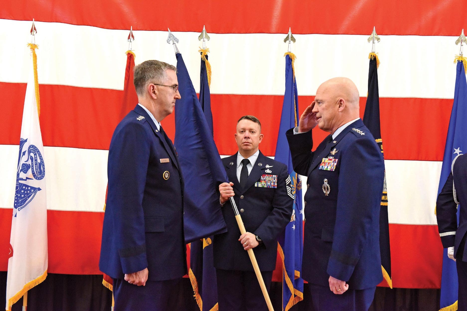 U.S. Air Force photo Gen. Jay Raymond, Air Force Space Command commander, becomes the Joint Force Space Component commander in a ceremony Dec. 1, 2017, at Peterson Air Force Base, Colorado.